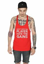 Don't Hate The Player Hate The Gains Mens Gym Vest Tank Top Racerback MMA Muscle