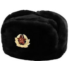 Russian Army Soldier Military Winter Fur Hat USHANKA with Badge Soviet Symbol