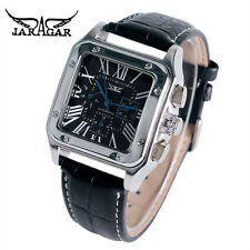 JARAGAR Square Dial Auto Date Men Leather Band Automatic Mechanical Wrist Watch