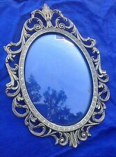 Antique Vintage Oval Metal Brass Gold Victorian Bubble Convex Glass PictureFrame