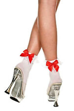 Sexy & Slutty Hot MILF Adult Anklet Socks White w/Black, Red Bow & Lace Ruffles