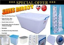 Large Medium Small Size Plastic Clear Storage Box Container Cliped Lid & Wheels