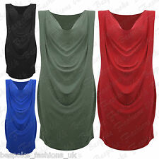 Ladies Women's Plus Size Sleeveless Cowl Neck Drape Bodycon Party Dress 14-28