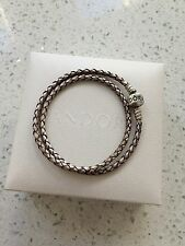 Genuine Stamped Pandora Champagne Double Leather Bracelet Size 37 Cms