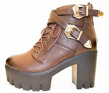 Womens Chunky Block High Heel Lace Up Ankle Boots Ladies Buckle Platform Shoes