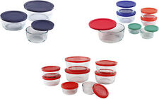 Pyrex Simply Store 1,2,4,7-Cup Round Glass Food Storage Dishes, 3 Colors