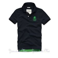 NEW ABERCROMBIE FITCH KIDS A&F Boys Cotton Message Graphic Polo Shirt Navy S-XL