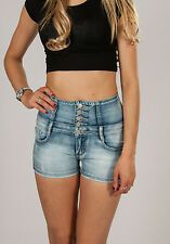 Womens 5 Button High Waisted Lace Up Back Denim Shorts