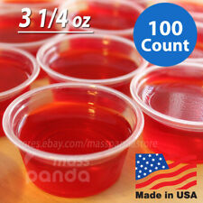 100ct 3 1/4 oz Extra Large Jello Jelly Shot Clear Portion Cups with Lids Option