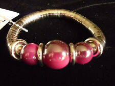 silver stretch snake chain bracelet with feature beads - pink or brown available