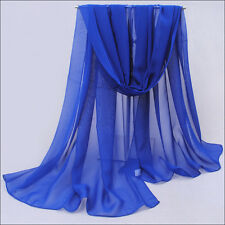 Solid Long Soft Scarf Wraps Chiffon Voile Summer Beach Scarves Shawl 24 Colors