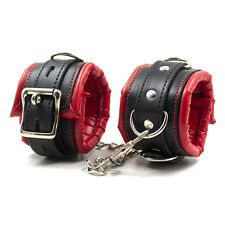 Adult Red Leather Bondage Fetish BDSM Handcuffs Ankle Cuffs Restraints SM Toys~
