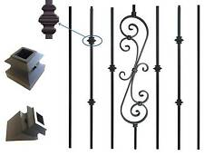 Black Metal spindle Iron stair parts balusters knuckle scroll basket twist shoe