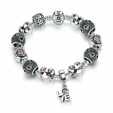 Love Gift European Style Silver Plated Glass Beads Women Crystal Charm Bracelet