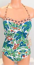 Tommy Bahama Palm Paisley Bandeau Swimsuit one Piece Floral Multi color Size 12
