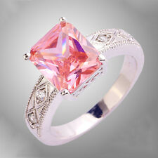 Emerald Cut Pink Sapphire Gemstones Silver Ring Size 7 8 9 10 Wedding Jewelry