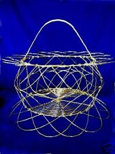 Unusual Large Brass Basket-Folds Flat for Storing - NEW