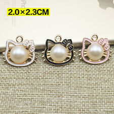 New 15PCS Enamel cat Imitation pearls Charm Pendant Gold Tone DIY Charms 20x23mm