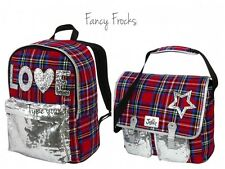 JUSTICE Girls Tartan Plaid Backpack Messenger Bag OR Lunch Box, NEW