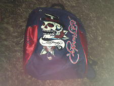 Don Ed Hardy Compact Backpack Rucksack Bag - Blue & Red Skull Gothic Graphic