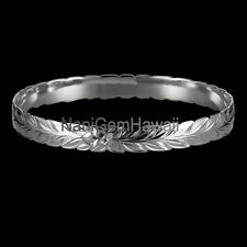Hawaiian Bangle Plumeria Maile 925 Sterling Silver cut out Bangle Bracelet 6-12m