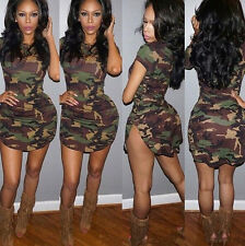 Fashion Women Short Sleeve Casual Camouflage Party Bodycon Tight Mini Dress S-XL