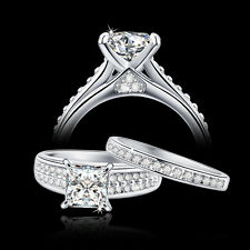 2Ct Princess AAA CZ Sterling Silver Engagement Wedding Ring Set Women's SZ 5-10