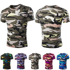 Hot Fashion Mens Crew Neck Camouflage Casual T-Shirt Short Sleeve Slim Fit Tops