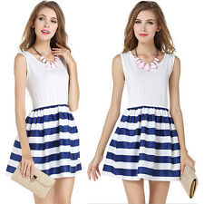 Women's Summer Sleeveless Mini Dress Cocktail Stripe Casual Crew Neck Sundress