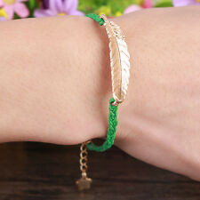Jewelry Leaves fashion lots Style Leather Cute Infinity Charm Bracelet CA