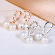 Button Shape Natural High Luster Pearl Stud Earrings for Wedding Accessories