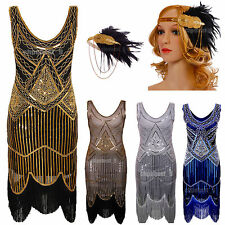 UK 4~18 Ladies 1920s Flapper Dress Charleston Gatsby Girl Cocktail Fancy Costume