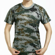 Mens Military Tactical Camouflage Camo T-Shirt Army Combat Forest Drill Fight