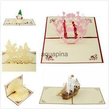 3D Pop Up Greeting Cards w/ Envelope for Valentine Bday Anniversary Mothers Day