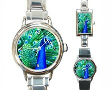 Italian Charm Metal Watch Round Square Bird 10 Peacock art painting by L.Dumas