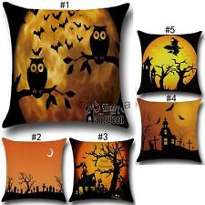 Cushion Cover Square Linen Pillow Throw Case for Halloween Greeting Decoration
