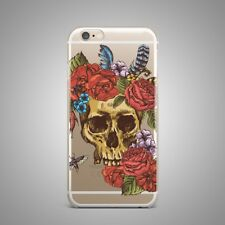 Skull Roses Flowers Floral TPU Silicone Rubber Clear Case Cover for iPhone