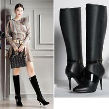 Womens Knee High Boot High Heel Stiletto Party Buckle Pumps Pointy Toe Zip Shoe