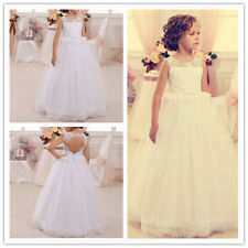 Flower Girl Dresses Wedding Birthday Prom Pageant Party puffed tulle LaceAge2-14