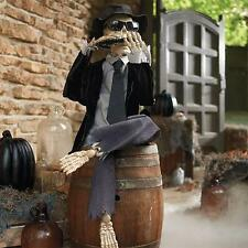 ANIMATED Sound Activated Harmonica Skeleton Man Bones Halloween Decoration Prop