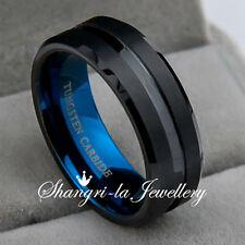 BLUE LIGHT SOLID MENS TUNGSTEN CARBIDE RING 8MM WEDDING BAND NEVER TARNISH JS075
