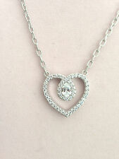 JUDITH RIPKA STERLING OR 14K CLAD DIAMONIQUE HEART NECKLACE (M681-7-30)