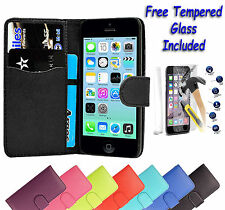 Leather Wallet Book Flip Case Cover For Apple iPhone 4 4S + Free Tempered Glass