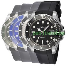 Sapphire Glass Parnis 40mm Ceramic Bezel Rubber Strap Men Miyota Automatic Watch