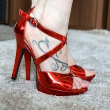 Womens Ladies Stilletto High Heel Red Open Toe Party Platform Strap Shoes