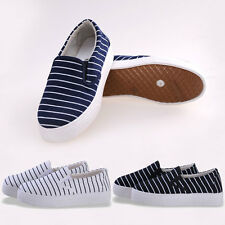 Women Girl Flat Leisure Slip On Stripe Stichting Low Top Sneakers Casual Shoes