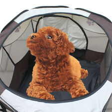 HOT Foldable Pet Dog Cat Exercise Fence Cage Soft Playpen Bed Kennel Tent Crate