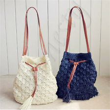 Fashion Womens Sweet Bohemian Beach Straw Bucket Handbag Shoulder Bag