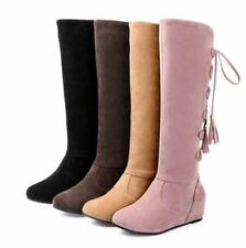 Womens Lace Up Roma Flat Riding Knee High Boots Shoes Plus Sz Tassels Fashion
