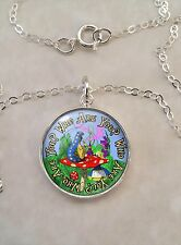 Sterling Silver 925 Pendant Necklace Alice Wonderland Lewis Carroll Choose Quote